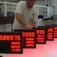 Display Andon-X contapezzi, interfaccia RS485. Produzione Italia