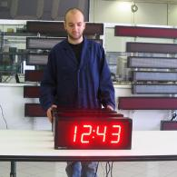 stopwatch display, red leds