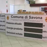 Tabellone per comune con potenza e energia impianto