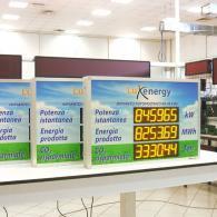 Dispositivo a led con visualizzazione energia prodotta impianto