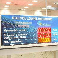 "Display monitor with swedish writings ""Solcellsanlaggning"" model PWD7-130C3"