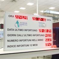 Cartellone luminoso led con dati aziendali infortuni Acqua Novara
