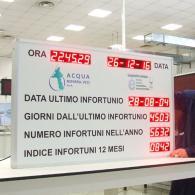 Cartellone luminoso led con dati aziendali infortuni Acqua Novara