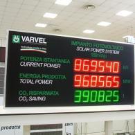 Tabellone gigante a 3 tre campi numerici per monitor sistemi fotovoltaici